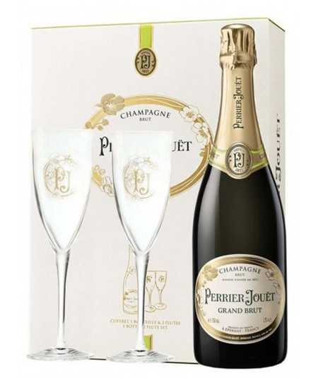 PERRIER-JOUËT Grand Brut gift sets with 2 champagne glasses