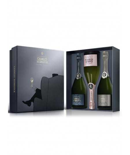 Offer Champagne gift set CHARLES HEIDSIECK 3 Bottles 75cl (Brut + Blanc De Blancs +Pink)
